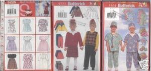 CHILD CLOTHES x3 SEWING PATTERN sz6-8 DRESS PANT SHORTS