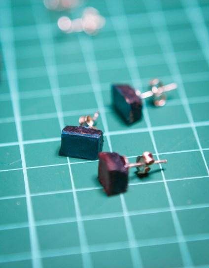 leather cube earrings