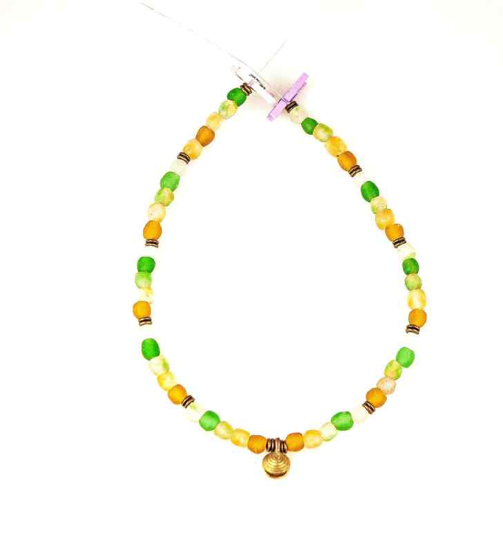 recycled bottle glass bead necklace