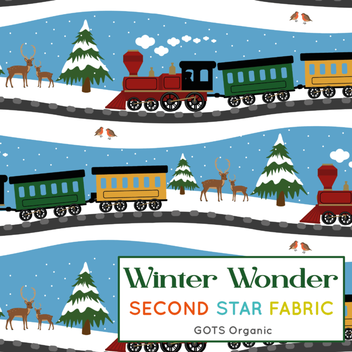 winter trains jersey fabric