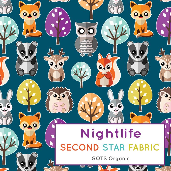 woodland animals jersey fabric