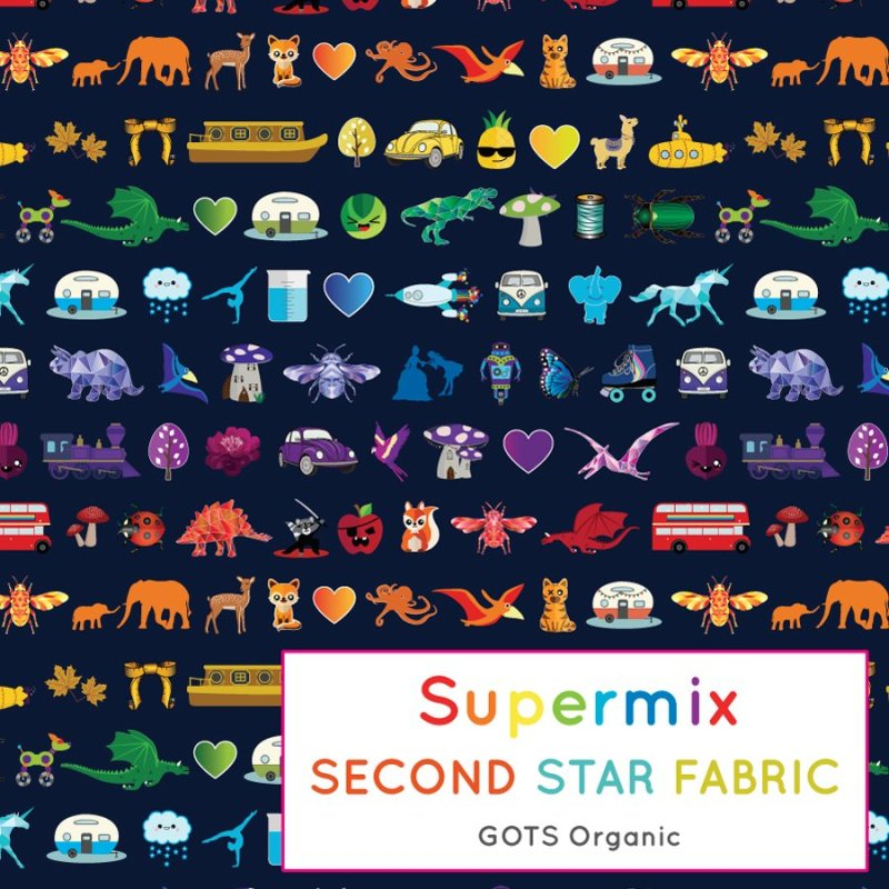Rainbow jersey fabric. Colourful, Gender neutral themed GOTS Certified organic cotton elastane jersey fabric