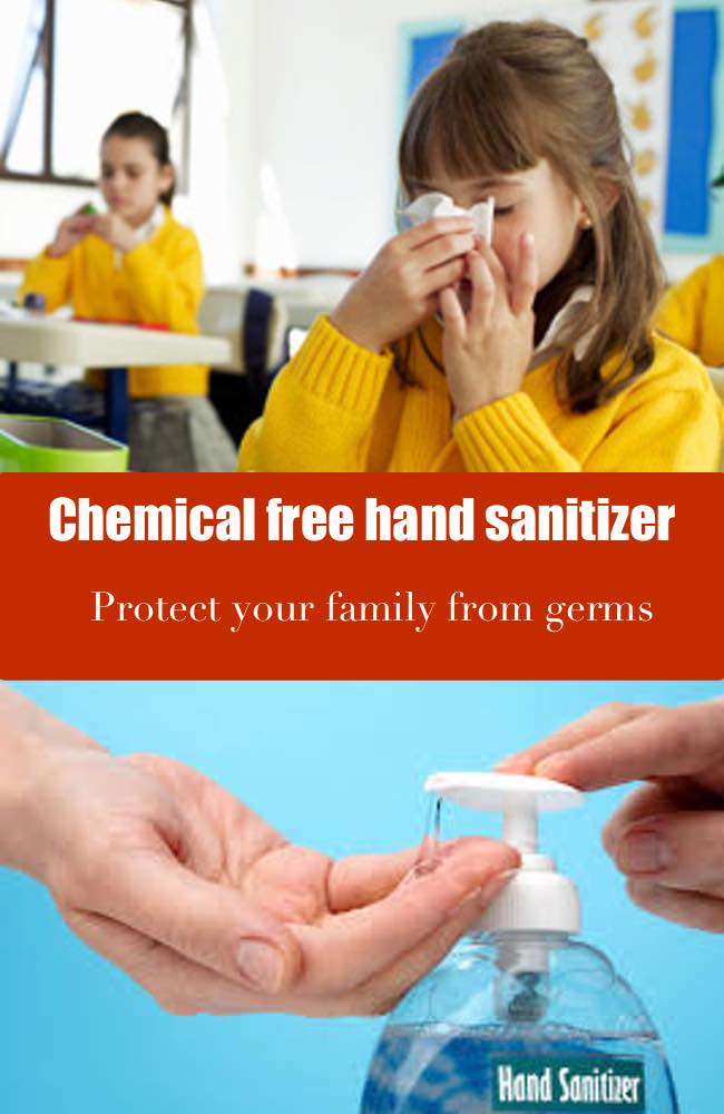Chemical free hand sanitizer