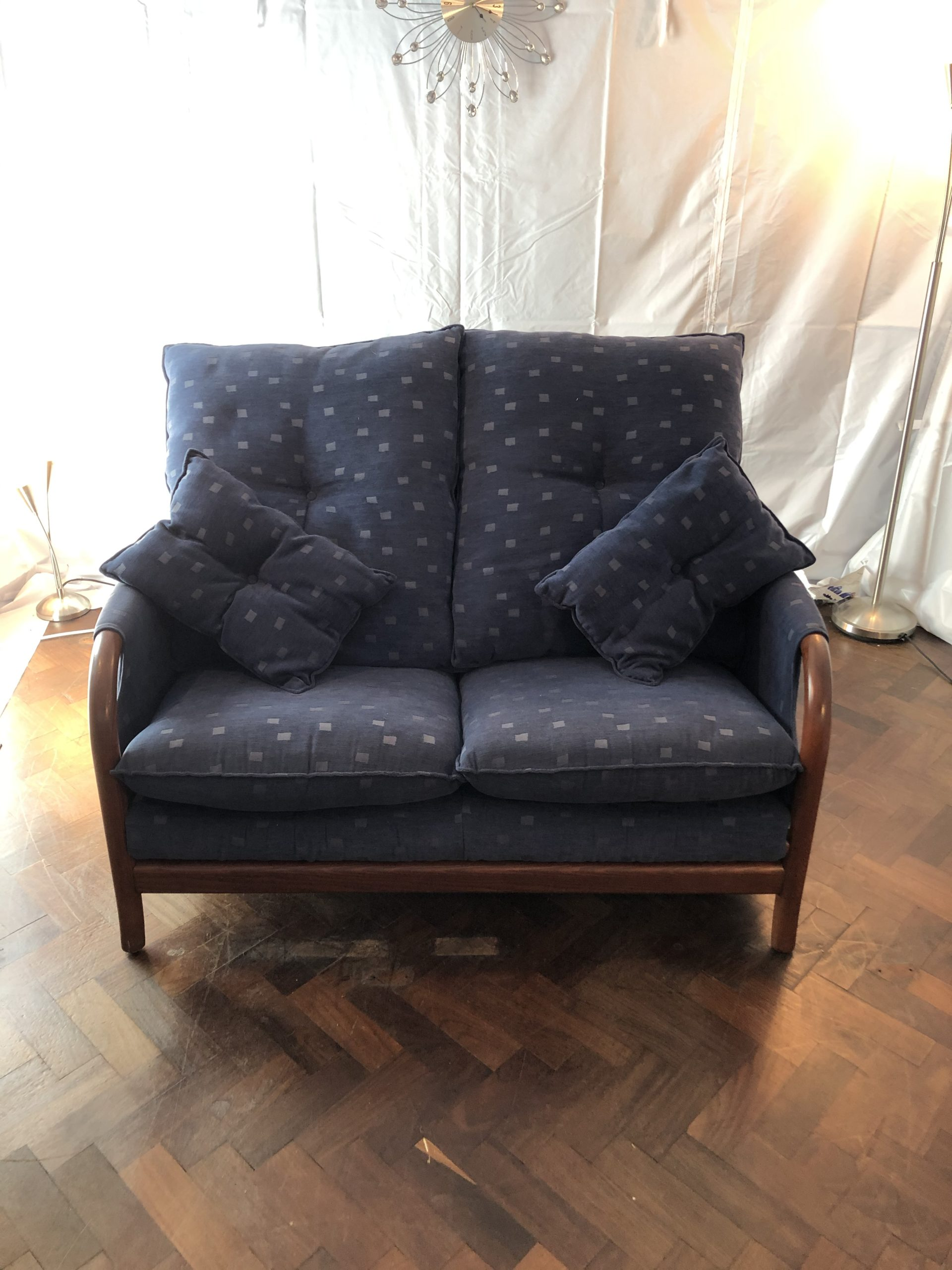Id 1387 100 Cintique Teak Frame Two Seater Sofa Second Time Around