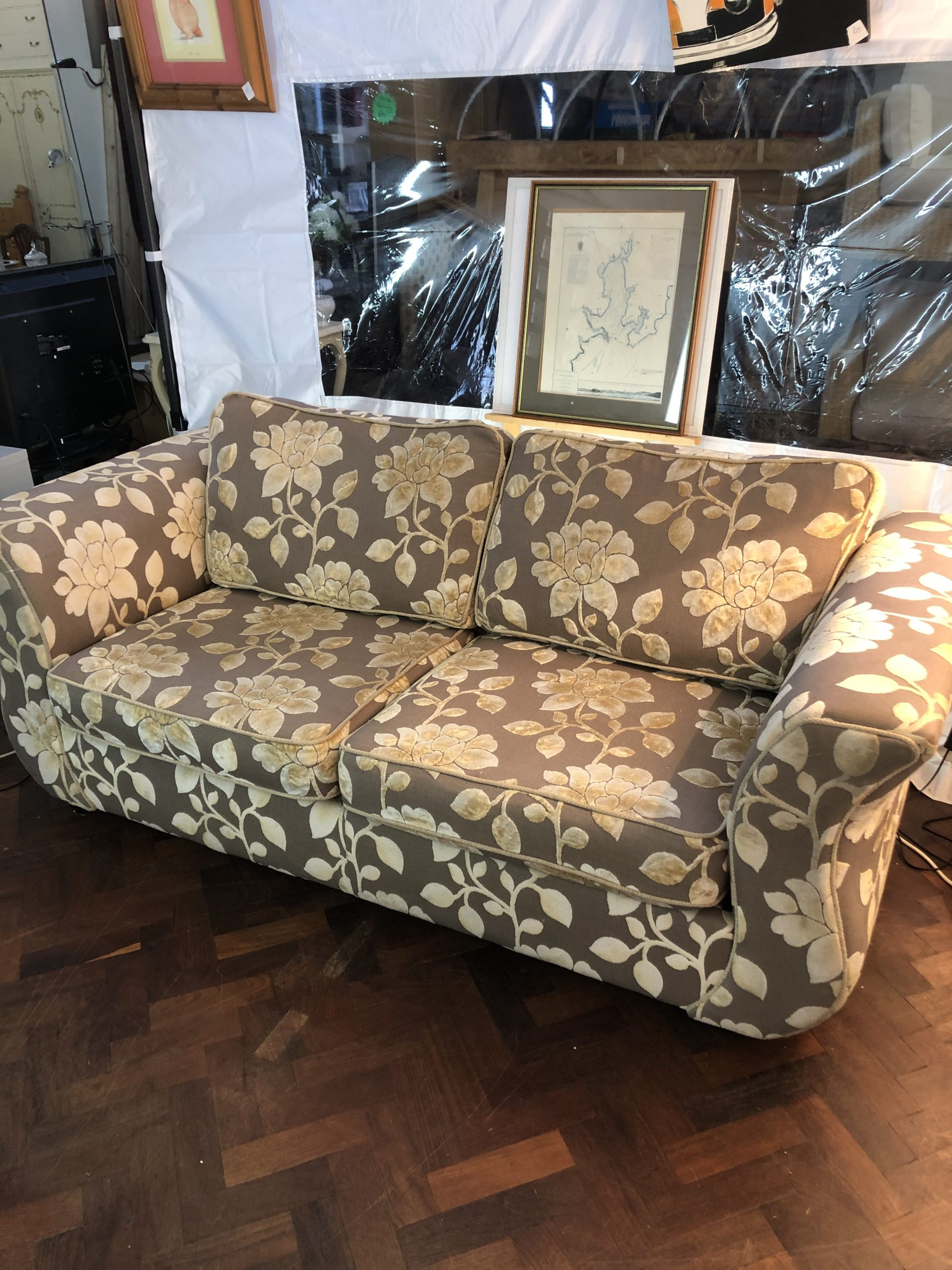 Dfs Grey And Floral Metal Action Sofa Bed Second Time Around