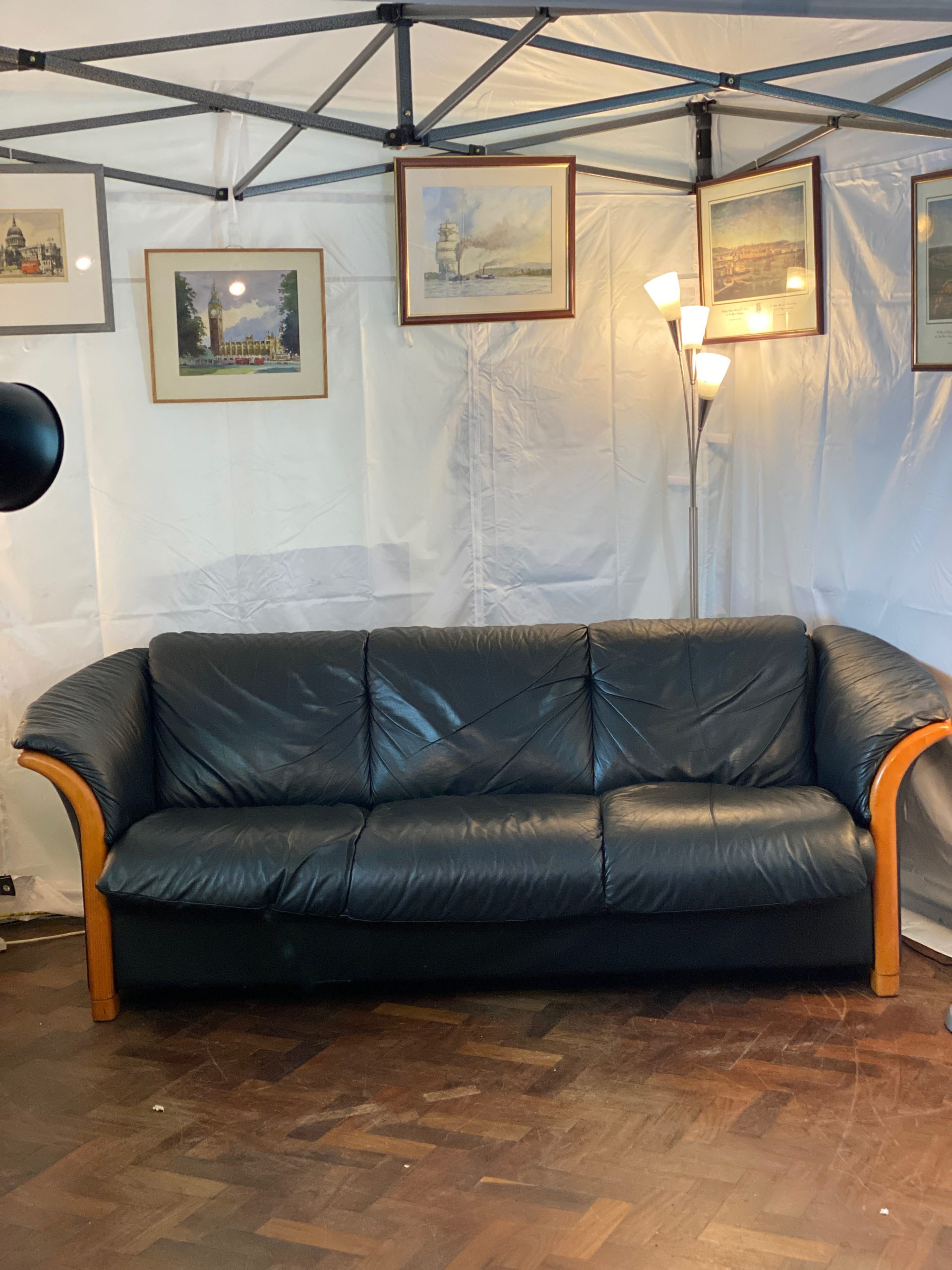 Genuine Italian Leather Black Sofa With Walnut Trim Second Time Around