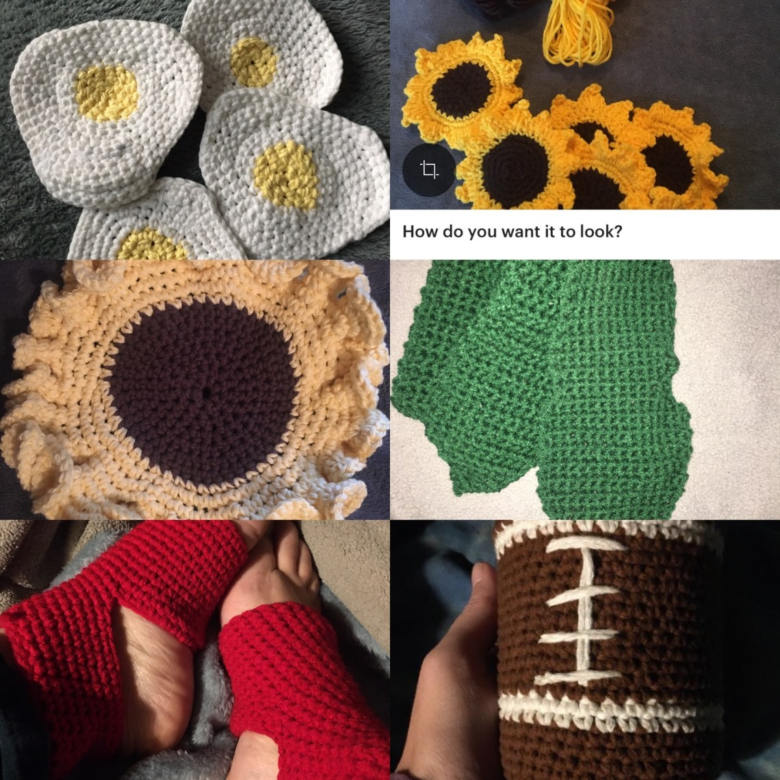 a collage of photos of crocheted: egg coasters, sunflower coasters, sunflower trivet, and a green snake scarf.