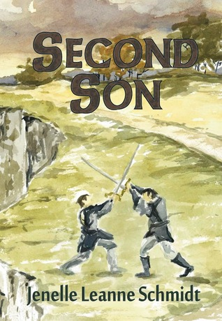 Cover art for Second Son, a watercolor of two men sword fighting on the edge of a cliff.