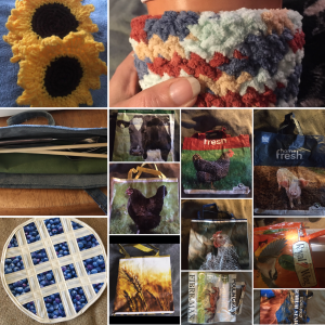 A collage of our Mother's Day Gift Collection, including sunflower coasters, ice cream cozy, blueberry pie hot-mat, denim cutlery case, and reusable farm themed tote bags.
