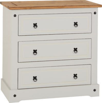 corona 3 drawer chest grey distressed waxed pine
