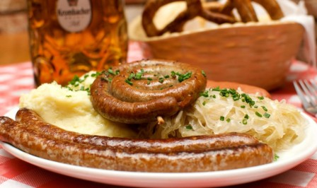 """Spicy Sausage Platter"""" with a spiral sausage, Merguez sausage and Cheese Cracker"""