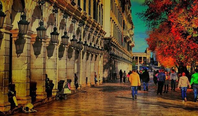 streets in Kerkura, Corfu