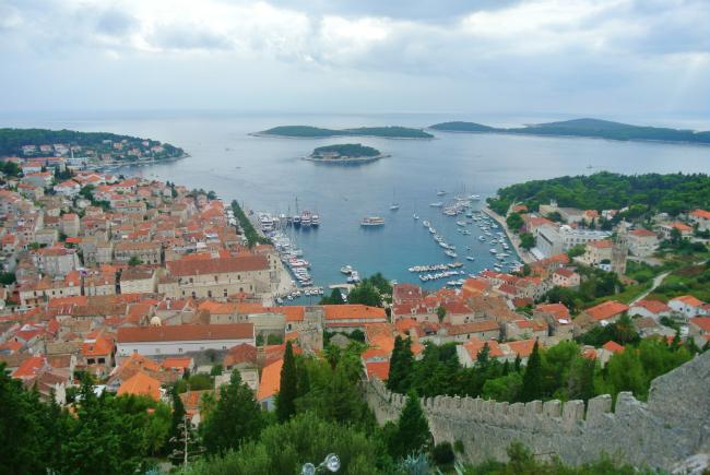 view over hvar in croatia