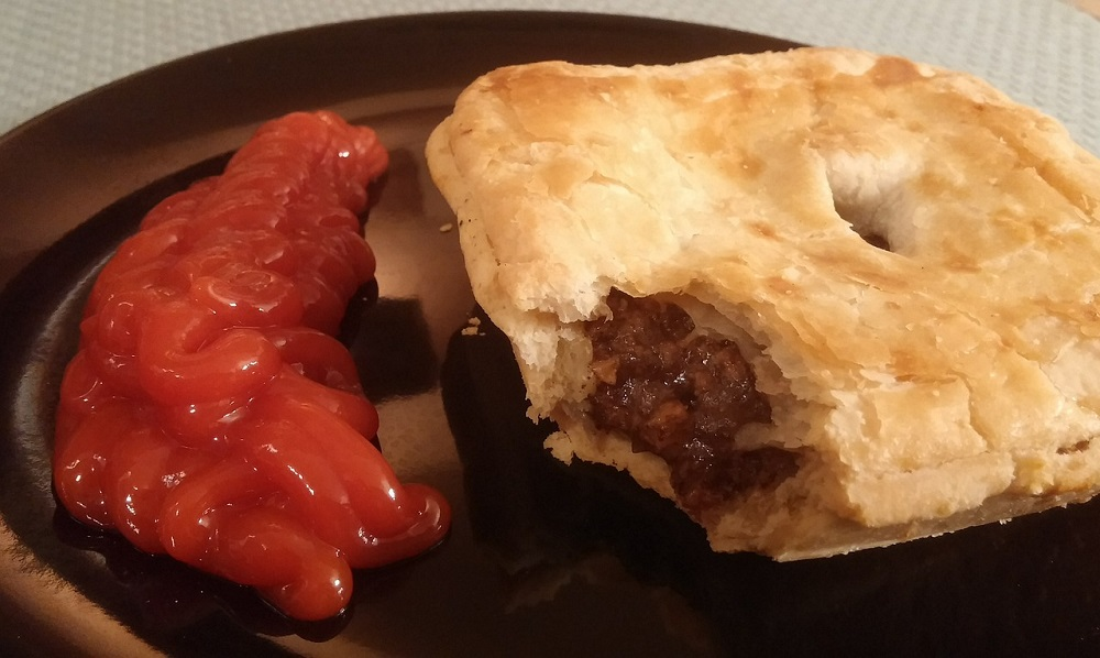 meat pie and ketchup in Australia