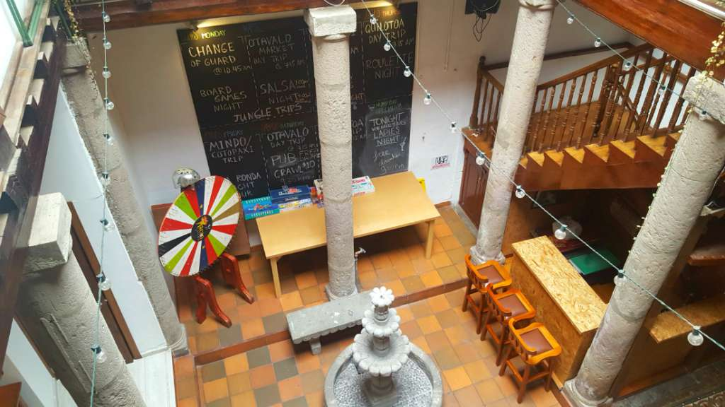 Common area in the Hump Day Hostel in Quito