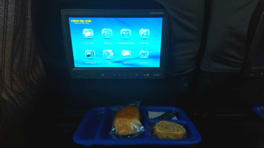 Breakfast in Cruz del Sur bus in Peru