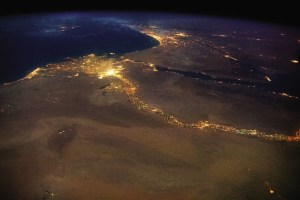 The Nile River, flowing into the Mediterranean Sea