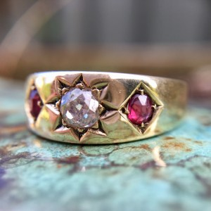 Victorian Era Old Cut Diamond and Natural Ruby Gypsy Ring in 15ct