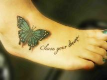 Butterfly Foot Tattoo Designs with Name