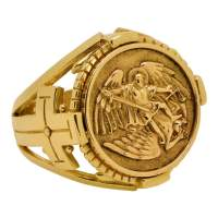 Saint Michael the Archangel Solid Gold 10K mens Ring ...
