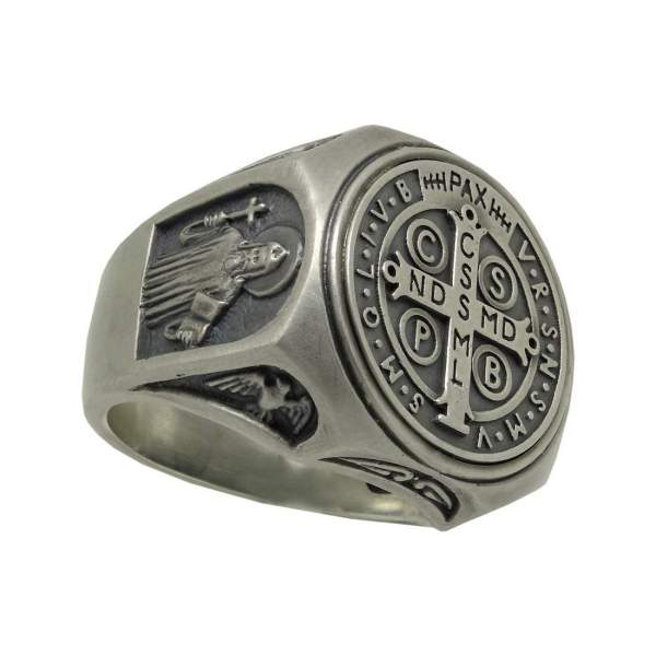 "Christian Roman Catholic ""saint Benedict"" Mens Ring"