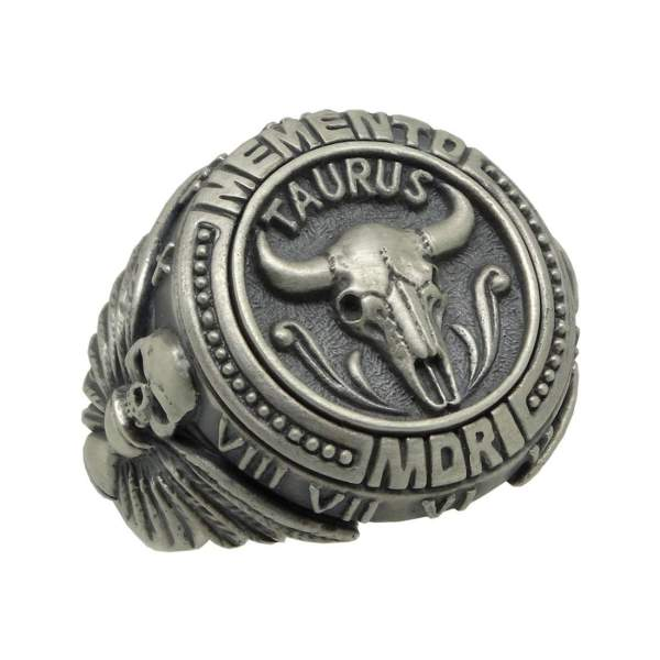 Sterling Silver 925 Custom Taurus Memento Mori Zodiac