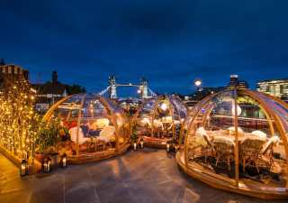 Riverside igloos by Thames in London