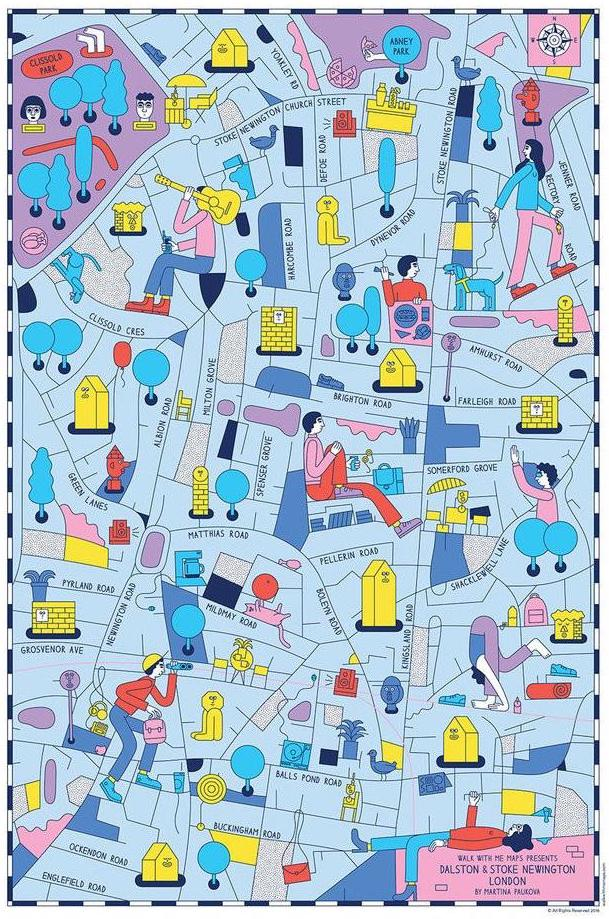 Illustrated map Dalston Stoke Newington London