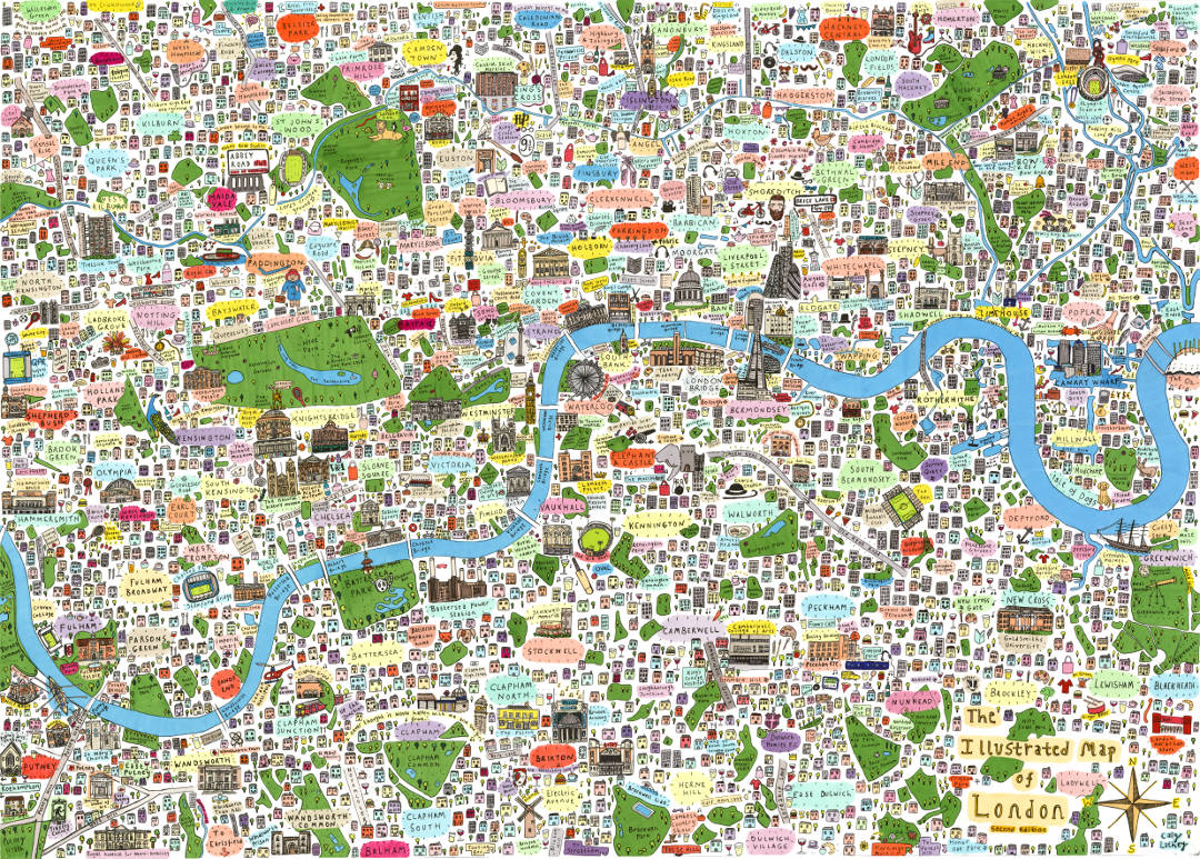 Beautiful Illustrated Maps Of London Posters And Prints You Can Buy - Map of north london areas