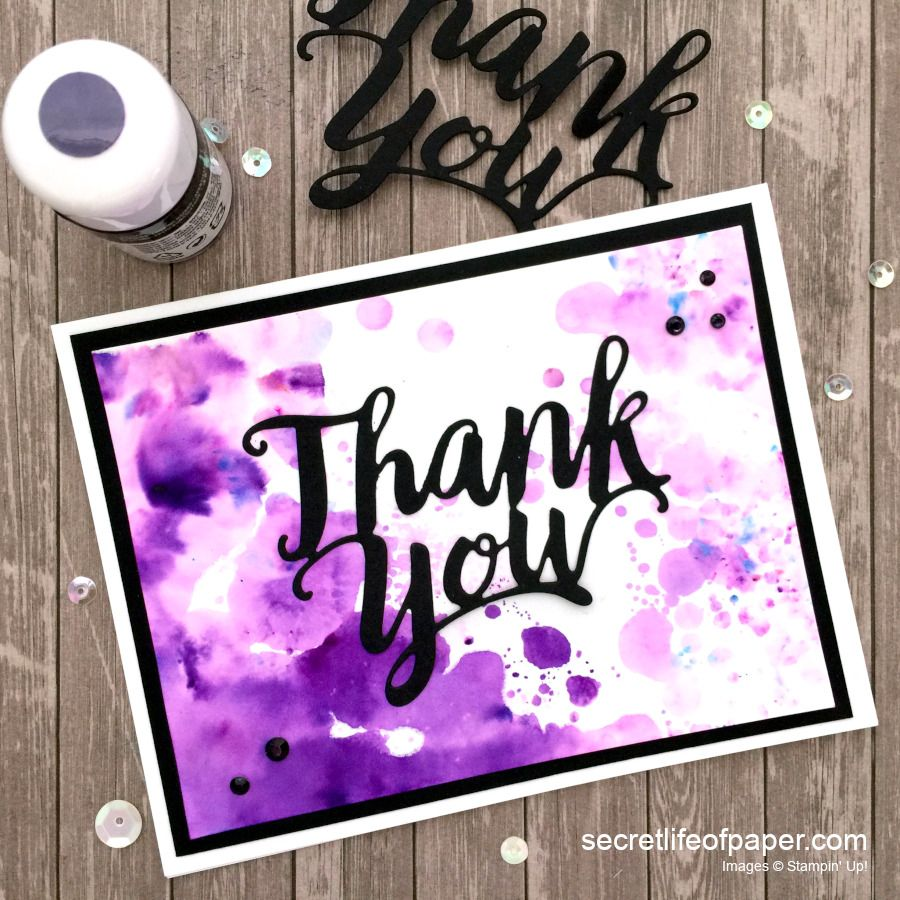 Stampin Up Pigment Sprinkles Thank You Die Grape