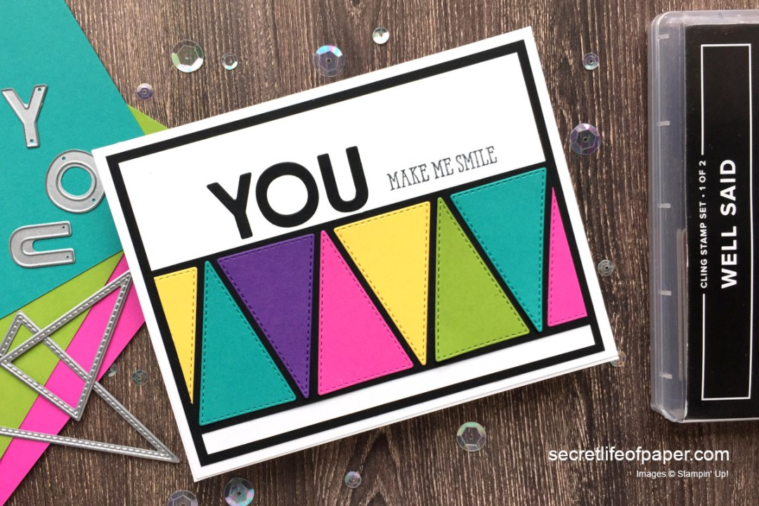 Stampin Up Stitched Triangles Playful Alphabet Card