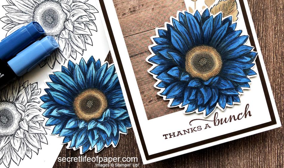 Celebrate Sunflowers Blue Close Up