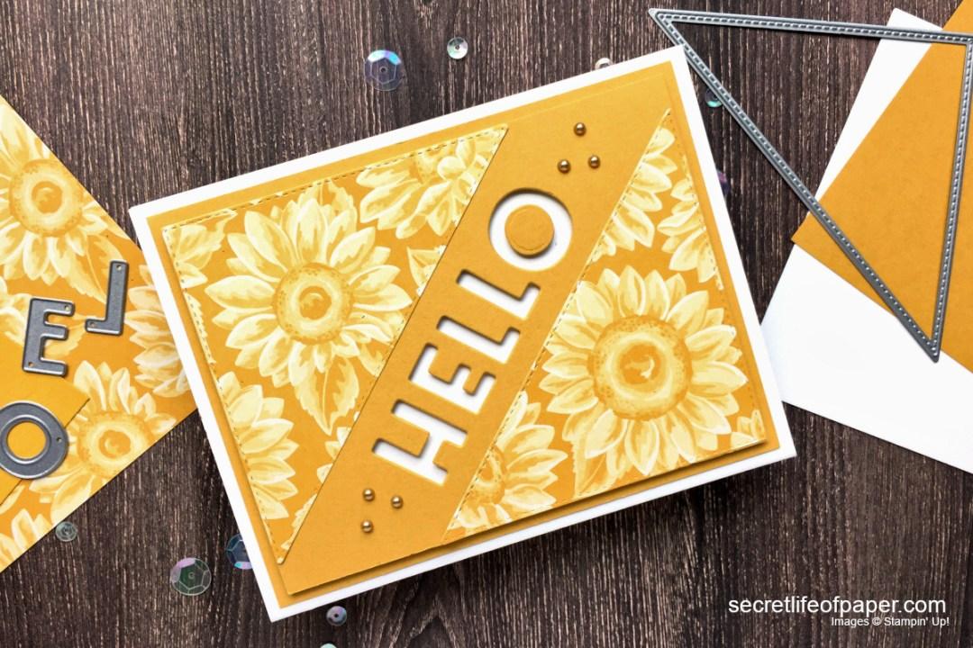SU Stitched Triangle Playful ALphabet Sunflower Card