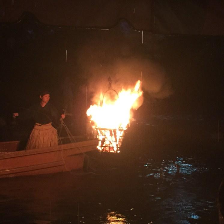 Cormorant fishing - flame