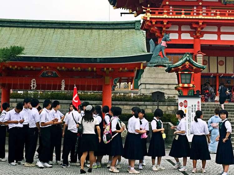 School trip at Fushimi Inari - Kyoto 1 Day Itinerary