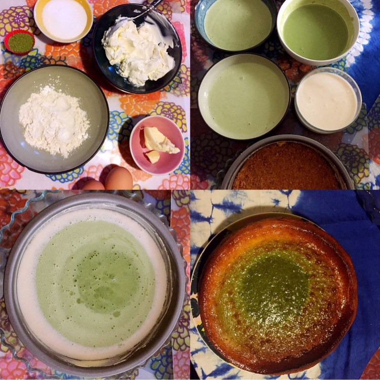 Layered matcha cheesecake ingredient - matcha cheesecake