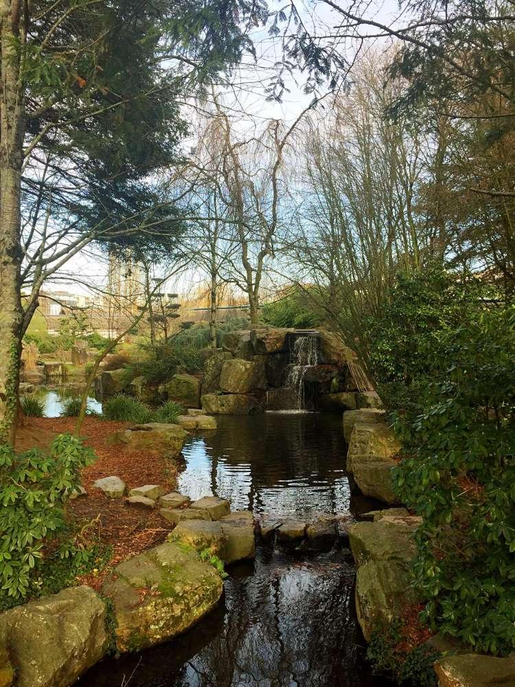 Waterfall in the Jardin Japonais, Ile de Versailles, Nantes