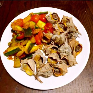 Snail dish with roasted vegetables