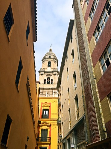 View of Malaga Cathedral from back street