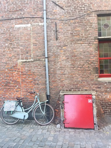 Blue bike and red door - Ghent street art