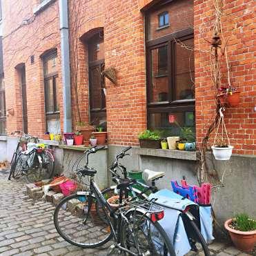 Bikes in a cute street - Ghent street art
