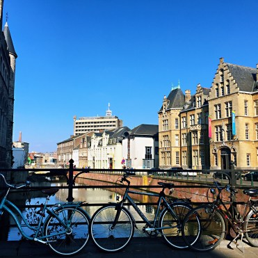 Bikes by bridge - Ghent street art