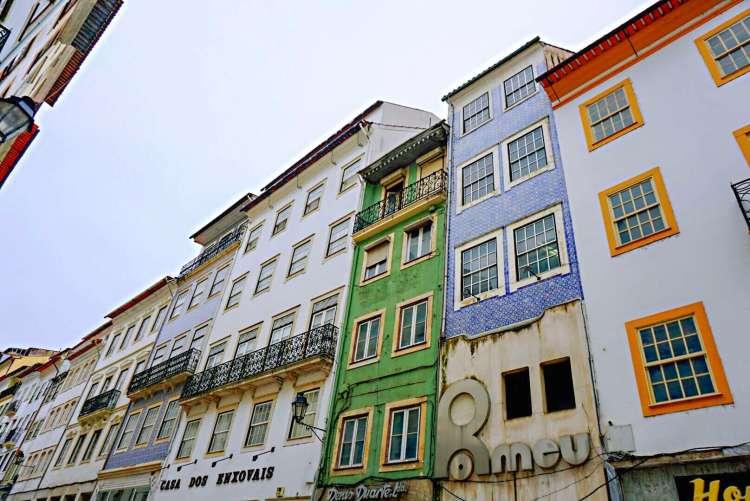 Colourful building facades in Coimbra - One day in Coimbra