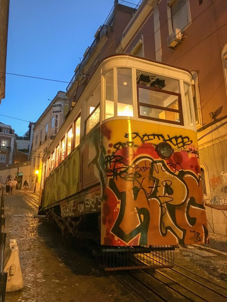 Graffiti tram at night - 3 day in Lisbon