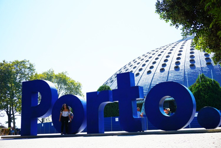 Blue Porto sign - One week in Portugal