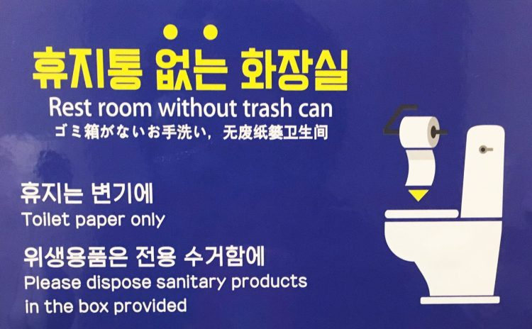 Toilet instructions in Hangul and English - Interesting facts about South Korea to Know before travelling there
