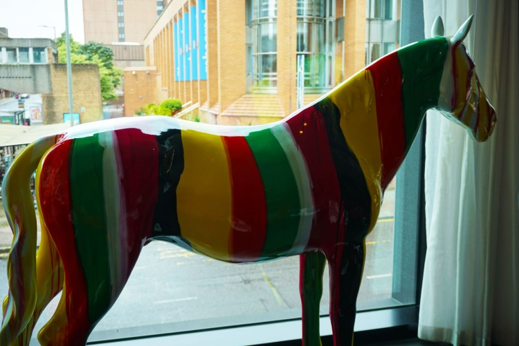 Rainbow horse sculpture at CitizenM hotel Glasgow