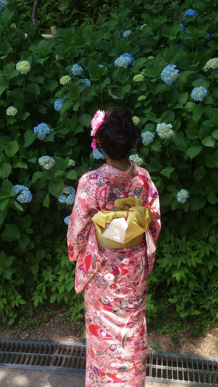 Pink kimono wearing lady looking at flowers in Japanese village of Uchiko