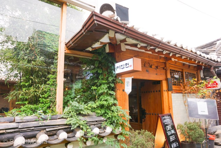 Facade of a cafe in a hanok building