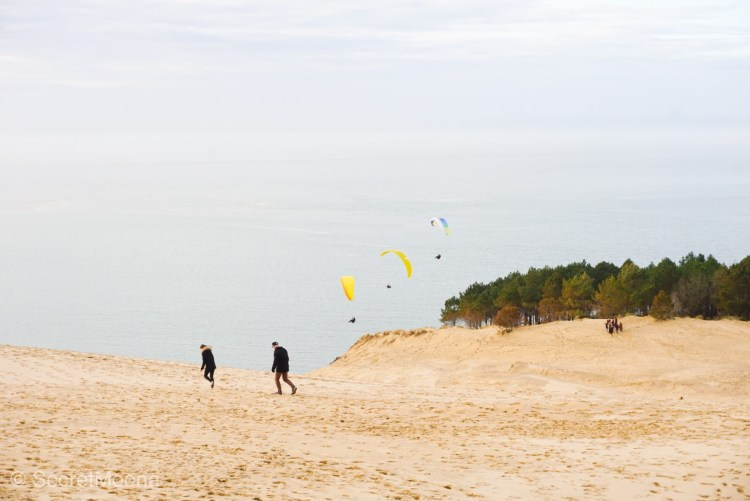 People walking on sand with paragliders at a backdrop
